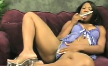 Ebony Woman Vibrates Her Pussy With A Toy