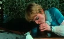 Retro German blonde eats cock in threesome