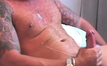 Tattooed Gay Masturbating
