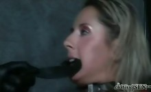 Hot ass blonde in red latex gets fucked hard in dark dungeon