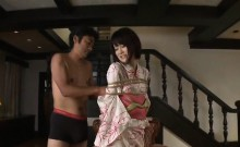 Slim Asian babe Towa Aragaki plays with a sex toy and fucks a big cock