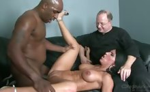 Old guy watches his wife get plowed by a huge black cock!