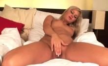 Cute Blonde Plays With Pink Dildo