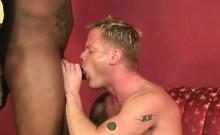 Muscular blonde gets assbanged by blacks