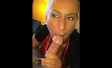 She takes his cock really deep in her throat