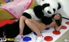 Teen sex with dildo on twister rug