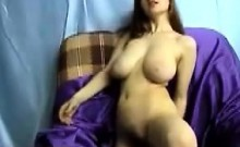 Young hairy brunette with big boobs masturbat