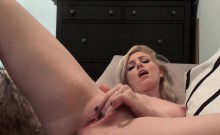 Blonde exhausted after dildo enter in arse