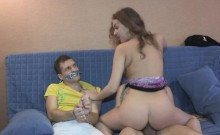 Cuckolding eurobabe rides cock in front of bf
