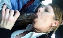 Horny white Milf Sucking BBC in the Car