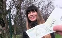 Sexy babe Mona Kim gets creampied in public for cash