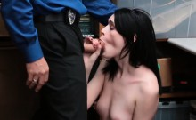 Teen is put in back room and fucked by dirty mall cop dick