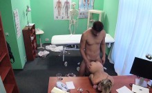 Skinny blonde patient gets doctors cock