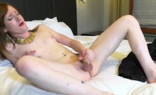 Redhead amateur tgirl pulling her cock solo