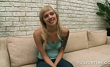 Teen blonde cutie flashing her tits at a porn movies