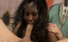 Black Ghetto Whore Roxxy Rirdes Choking On A White Dink