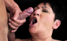 Facialized cougar fucked