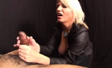 Blonde mistress stroking black dude