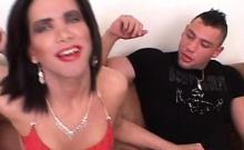 Stockinged Tranny Assfucked In Threesome