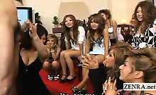 Subtitles CFNM group of Japanese gyaru penis seminar