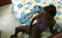 horny black strumpet masturbates her ass and pussy in her