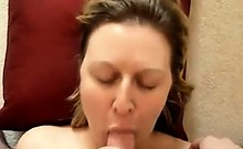 Wife sucking my hard cock and takes a facial