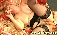 granny is getting toy fucked