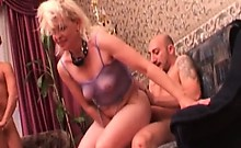 Hot blonde MILF enjoys in hard banging by younger dudes