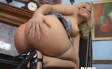 Gorgeous blondie in jeans skirt Alexis Texas strips panties
