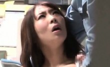 Japanese redhead office nympho having a big cock for lunch