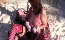 Redhead Gets Dirty Outside In Winter