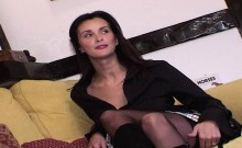 Angie George super milf takes two cumshots from one guy
