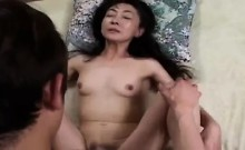 Lustful Japanese woman spreads her legs and enjoys a deep pounding