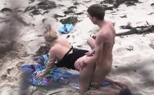 Couple spied fucking about the beach