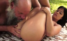 Naomi sucking off grandpas hard cock outside and rides on it