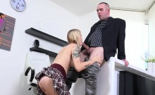 Pretty college girl was seduced and screwed by her elderly t