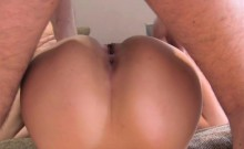 Brunette babe stick out bum for fake agent in office