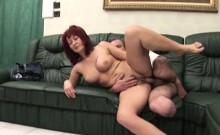 Redhead milf caring naked on one legged man