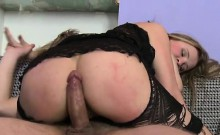 Hotty rides up rod and bounces on it feeling in her anus