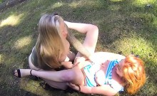 Lesbians trying huge dildo in fake taxi