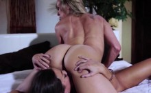 Two hot sexy lesbians scissoring hard