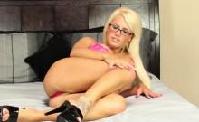 Busty blonde Jacky Joy keeps her glasses on during sex