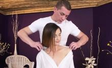 Brunette rides masseur in his lap
