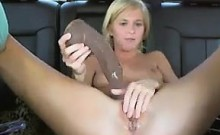 Pretty girl in public dildo masturbation on car
