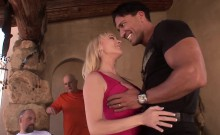 Blonde housewife gets kissed and her tits sucked good She