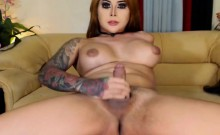 Busty Shemale Babe Jerking Off Her Hard Cock
