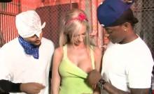 Big tits slut Kaylee Hilton double banged by black guys