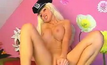 Busty policewoman on webcam display