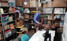 Ebony teen thief busted and fucked by a mall cops hard cock