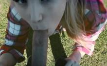 European busty teen banged outdoor pov